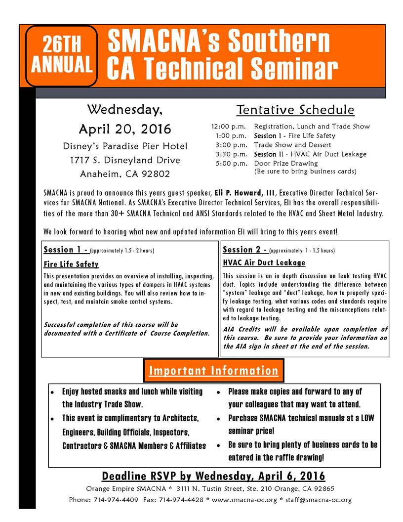 26th Annual SMACNA's Southern CA Technical Seminar